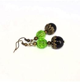 Handmade Black Green Earrings