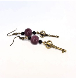Handmade Gothic Brass Key Earrings