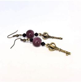 Handmade Gothic Brass Key Earrings