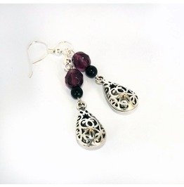Handmade Gothic Purple Black Embossed Earrings