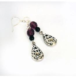 Handmade Gothic Purple Black Embossed Earrings
