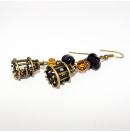 Handmade Steampunk Brass Cages Earrings