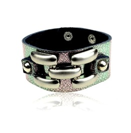 Magic! Soft Purple + Green Metallic Leather Wristband Metal Feature