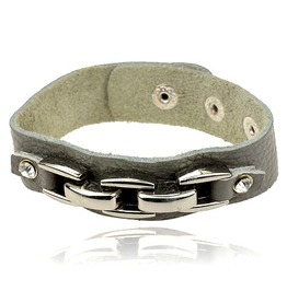 Ccol! Metal + Grey Leather Wristband Diamantes