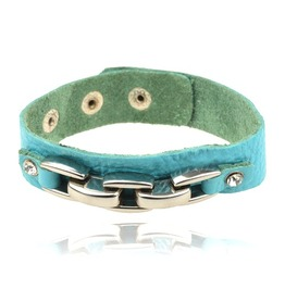 Cool Turquoise Blue Leather Wristband Metal Bar Crystal