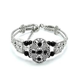 Pretty! Hand Crafted Tibetian Silver Bracelet Flower Design Black Bead