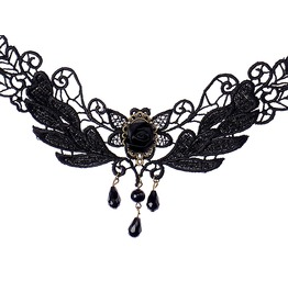 Gothic! Black Rose Lace Design Choker Necklace Black Gems