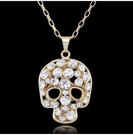 Cool Gold Colour Metal Crystal Skull Pendant Chain