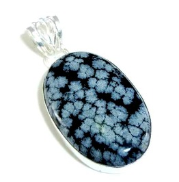 Magic! Elegant Oval Snowflake Obsidian 925 Pendant