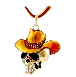 Cool! Skull Head Golden Yellow Cowboy Hat Pendant