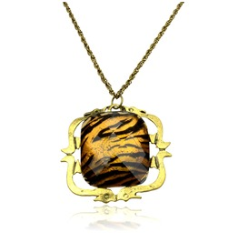 Wild! Gold Tiger Print Square Design Necklace
