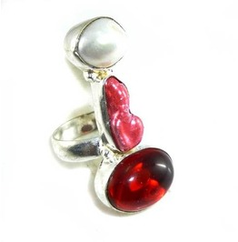 Eye Catching! Garnet, Biwa & Pearl 925 Silver Ring