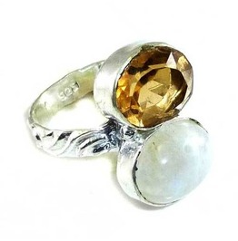 Enchanting Rainbow Moonstone, Citrine & 925 Silver Ring Uk Size L
