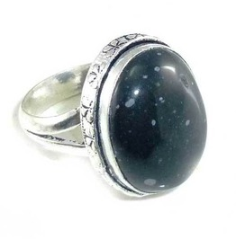Cool Oval Shape Snowflake Obsidian & 925 Silver Ring