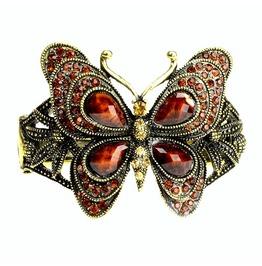 Elegant! Warm Brown Butterfly Antique Bronze Bracelet