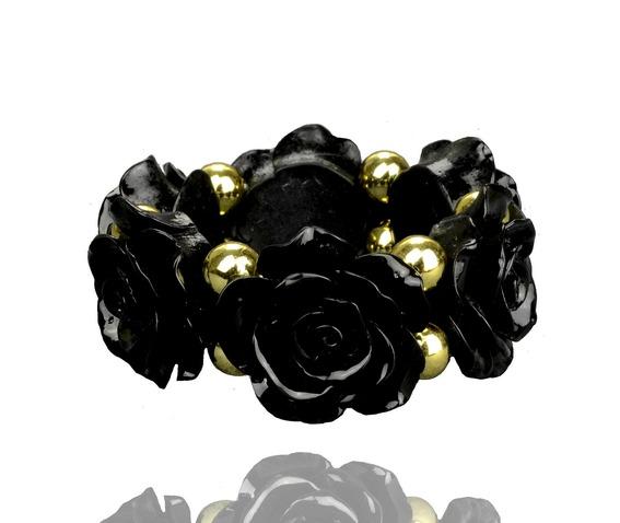 stunning_jet_black_rose_design_bracelet_lucite_gold_beads_bracelets_2.jpg