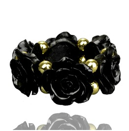 Stunning! Jet Black Rose Design Bracelet Lucite Gold Beads