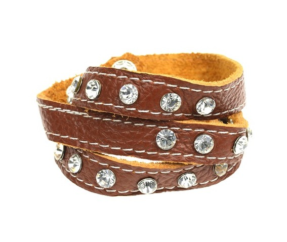 beautiful_soft_tan_brown_leather_wrap_around_wristband_clear_crystals_bracelets_2.jpg