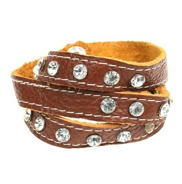 Beautiful! Soft Tan Brown Leather Wrap Around Wristband Clear Crystals