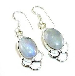 Real Pretty! Moonstone Oval Shape 925 Silver Earrings
