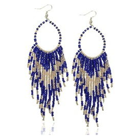 Beautiful! Long Blue Glass Bead Tassell Design Earrings