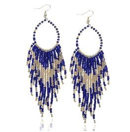 Beautiful! Long Blue Glass Bead Tassell Design Earrings