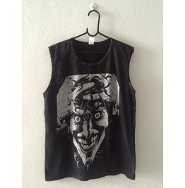 Skull Punk Rock Fashion Stone Wash Vest Tank Top M