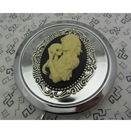 Compact Mirror Zombie Skull Comes Protective Pouch