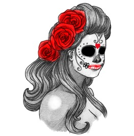 La Meurta Sugar Skull Temporary Tattoo, Inkwear