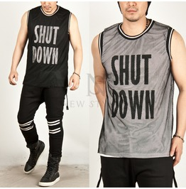 Mesh Layered Side Zipper Accent Lettering Prined Tank 41