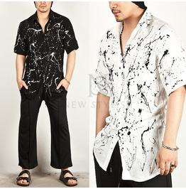 Splash Paint Printed Linen Shirts 57