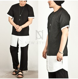 Shirts Layer Contrast Accent Long Tee 318