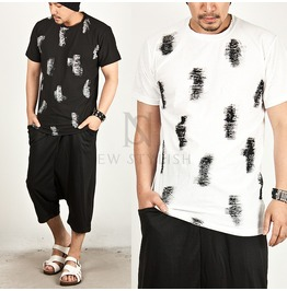 Distressed Painting Contrast Round Tee 319