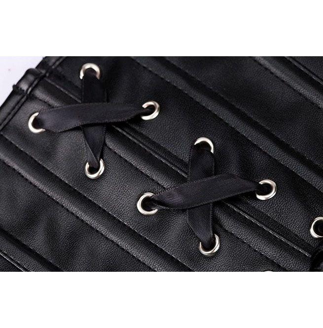 eb5a47a544bb7 Women s Plus Size Faux Leather Overbust Zipper Corset G String M3102 113