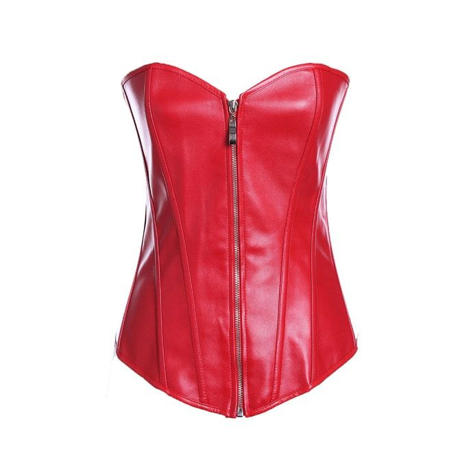 7ee0a59aadfc5 Women s Plus Size Faux Leather Overbust Zipper Corset G