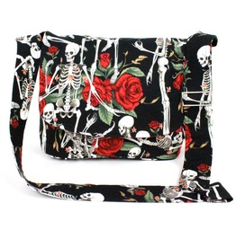 Skeletons Roses Black Messenger Bag