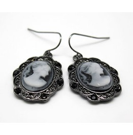 Alloy Filigree Cameo Drop Earrings