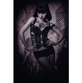 Avant Garde Sexy Black Pleather Buckled Gothic Corset Bustier Bolero