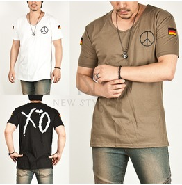 German Flag Patchwork Accent V Neck Tee 321