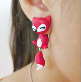 Cute Cartoon Red Fox Drop Earrings