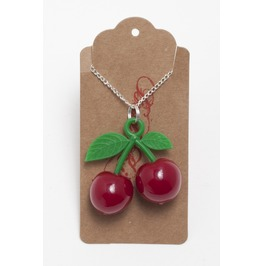 Red Cherry Pin Up Rockabilly Necklace.