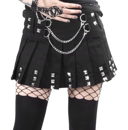 Jawbreaker Skirt Black Biker Mini Silver Chain Studs