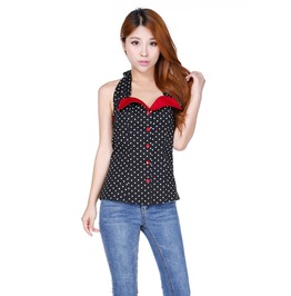 Amber Rockabilly Polka Dot Halter Top