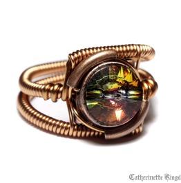 Steampunk Jewelry Ring Volcano Copper