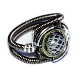 Steampunk Jewelry Ring Silver Brass