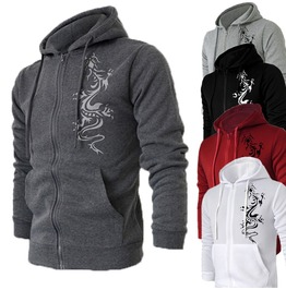 Mens Zip Up Dragon Printed Hoodie