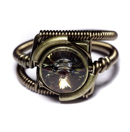 Steampunk Jewelry Ring Tabac Crystal
