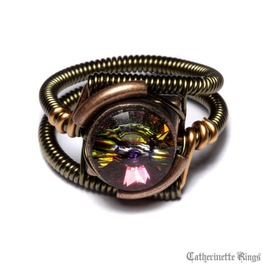 Steampunk Jewelry Ring Volcano Copper Brass