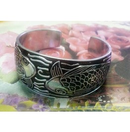 Carp Fish Emboss Bracelet Cuff Bangle Stainless Steel Silver Color Tibetan