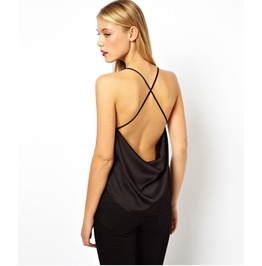 Women's Black And White Colors Backless Top